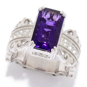 Vintage With An Edge 188-419 Dallas Prince Sterling Silver 4.27ctw Amethyst & White Zircon Filigree Band Ring - 188-419