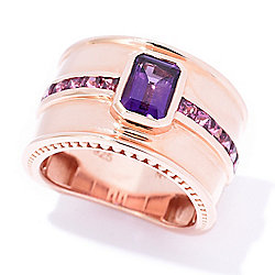 Hall of Style 1.50ctw Step Cut African Amethyst & Rhodolite Wide Band Ring