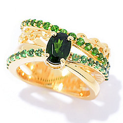 Hall of Style 1.76ctw Chrome Diopside & Tsavorite Highway Band Ring