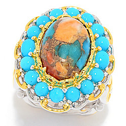 Gems en Vogue Spiny Oyster Turquoise & Sleeping Beauty Turquoise Ring