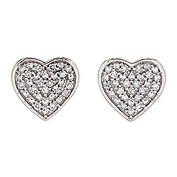"Diamond Treasures® ""Petite Treasures"" Sterling Silver 0.07ctw Diamond Heart Stud Earrings"