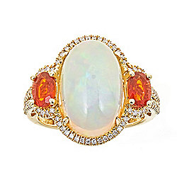 Fierra™ 14K Gold 16 x 8mm Ethiopian Opal, Fire Opal & Diamond Ring - Size 7