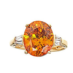 Fierra™ 14K Gold 8.54ctw Spanish Sphalerite & Diamond Ring - Size 7