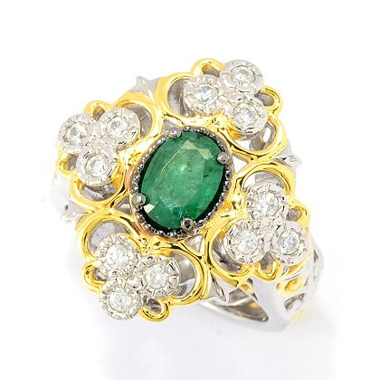 Web Exclusive Finds Items You Won't See On TV - 189-550 Gems en Vogue 1.14ctw Limited Edition Grizzly Emerald & White Zircon Ring