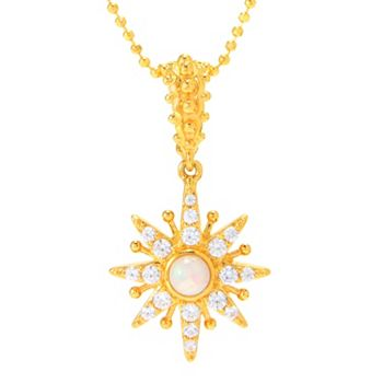 Gifts For Her - 189-780 Dallas Prince Ethiopian Opal & White Zircon Celestial Star Pendant w 16.5 Chain - 189-780