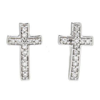 Clearance Under $75 Grab Them Before They're Gone189-828 Diamond Treasures® Petite Treasures Sterling Silver Diamond Accented Cross Earrings - 189-828