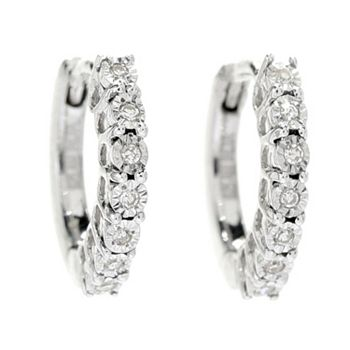 189-833 Diamond Treasures® Sterling Silver Choice of Size Petite Diamond Accented Earrings - 189-833