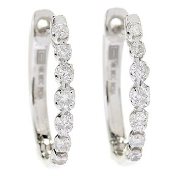 Gems of Distinction - 189-851 Gems of Distinction™ 14K Gold 0.29ctw Diamond Huggie Hoop Earrings - 189-851