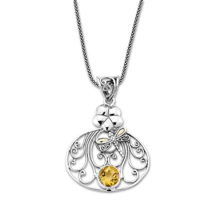 Web Exclusive Finds Deals You Won't See On TV - 189-883 Artisan Silver by Samuel B. 18K Gold Accented Gemstone Dragonfly Pendant w 18 Popcorn Chain
