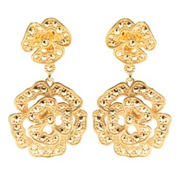 Chrome Marcasite 189-998 Dallas Prince Choice of Plating 1.5 Chrome Marcasite Flower Drop Earrings - 189-998