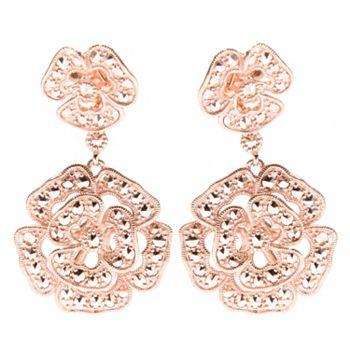 Marcasite by Dallas 189-998 Dallas Prince Choice of Plating 1.5 Chrome Marcasite Flower Drop Earrings - 189-998