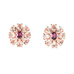 Gem Treasures® 18K Rose Vermeil 2.32ctw Rhodolite & Peach Morganite Stud Earrings