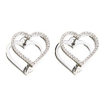 190-282 Gems of Distinction™ Sterling Silver 0.15ctw Diamond Cut-out Choice of Shape Huggie Earrings - 190-282