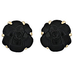 "Chanel 18K Gold ""Camelia"" Onyx Flower Stud Earrings - Pre-Owned"