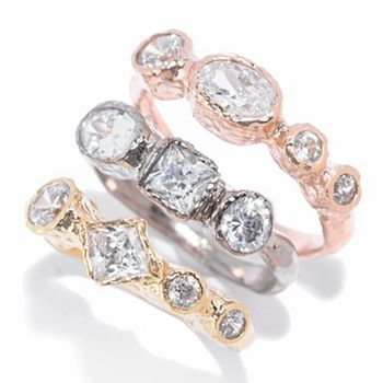 Customer Choice Your Favorite Jewelry Styles - 190-498 Golden Odyssey Choice of Plating Simulated Diamond Multi Cut Set of 3 Stack Band Rings - 190-498