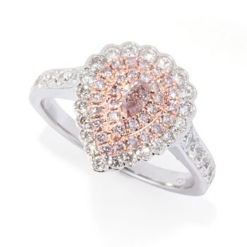 Au Naturale - 191-029 Gems of Distinction™ 18K Gold 1.06ctw White & Natural Pink Diamond Triple Halo Ring - 191-029