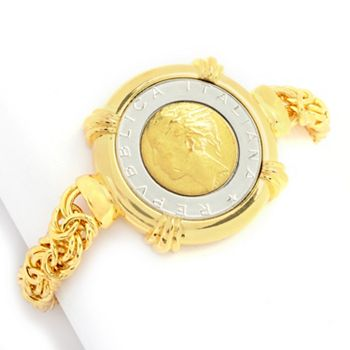 Toscana Italiana - 191-128 Toscana Italiana 7.25 or 8 Lira Coin Byzantine Chain Bracelet - 191-128