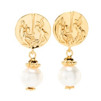 Tagliamionte Traditionally Inspired Styles 191-175 Tagliamonte Choice of Metal Maypole Cultured Pearl & Cameo Post Earrings - 191-175