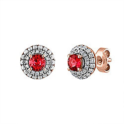 Estate 18K Rose Gold Diamond & Ruby Stud Earrings - Pre-Owned