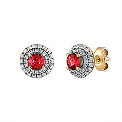 Estate 18K Gold Diamond & Ruby Stud Earrings - Pre-Owned