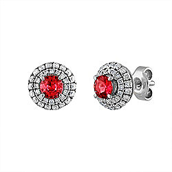 Estate 18K White Gold Diamond & Ruby Stud Earrings - Pre-Owned