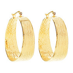 "Golden Odyssey 14K Gold Embraced™ 1.5"" Brushed Tapered Hoop Earrings"
