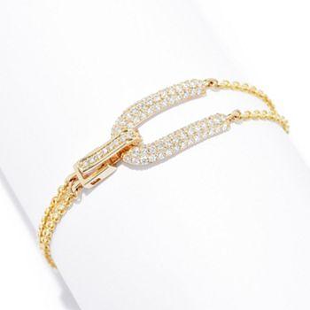 Bracelets - 191-739 Beverly Hills Elegance® 14K Gold 1.08ctw Diamond Horseshoe Double Chain Bracelet - 191-739