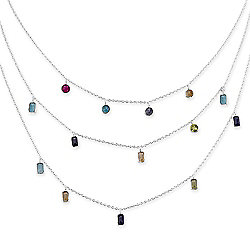 "Artisan Silver by Samuel B. 16"" Multi-Gem Layered Necklace w/ 4"" Extender"