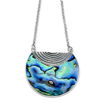 Web Exclusive Deals Diamonds Under $100 - 191-764 Artisan Silver by Samuel B. 16 Gems of the Sea Half-Circle Necklace w 2 Extender - 191-764