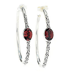 "Artisan Silver by Samuel B. 1.25"" or 1.75"" Gemstone Hoop Earrings"