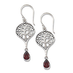 "Artisan Silver by Samuel B. 1.75"" Garnet Tree of Life Drop Earrings"