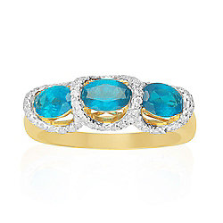 Fierra™ 14K Gold 4.34ctw Neon Blue Apatite & Diamond Ring - Size 7