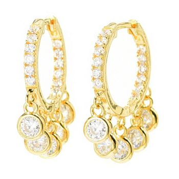 Victoria Wieck - 192-166 Victoria Wieck for Brilliante® Simulated Diamond Dangle Hoop Earrings - 192-166