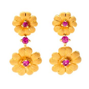 Glamorous Gold By Lambert Chang - 192-193 Lambert Cheng 24K Gold Ruby Double Flower Drop Earrings - 192-193