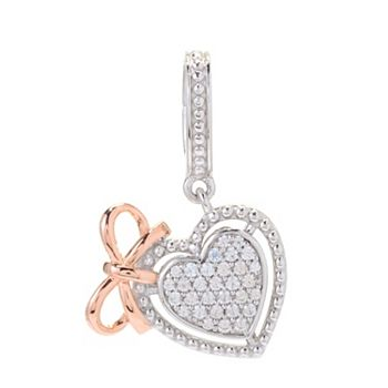 Gemstone Gift Boutique - 192-204 Dallas Prince Sterling Silver Two-Tone White Zircon Heart & Bow Charm - 192-204