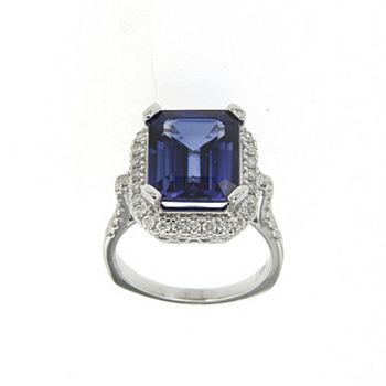 192-252 Soho Boutique 14K White Gold 7.66ctw Lab Created J'Adore Diffused Sapphire & Diamond Ring - Size 6 - 192-252