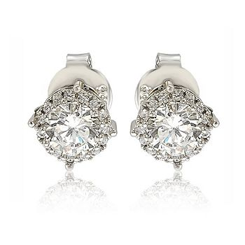 Suzy Levian New York Sale Up To 60% Off - 192-301 Suzy Levian New York Sterling Silver 2.52 DEW Simulated Diamond Round Halo Stud Earrings - 192-301