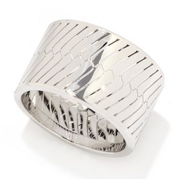 New Arrivals Flaunt it First - 192-306 Stefano Oro 14K Gold Diamond Cut Herringbone Cigar Band Ring - 192-306