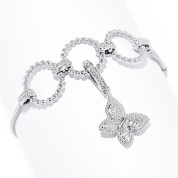Prince Charming - 192-345 Dallas Prince Sterling Silver White Zircon Adjustable Bracelet & Add-on Charm - 192-345