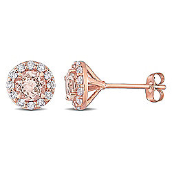 Julianna B 14K Rose Gold 1.68ctw Morganite & White Topaz Halo Stud Earrings