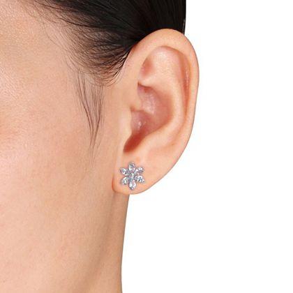 Daily Digital Deals Shop Thousands Of Web Exclusives - 192-544 Julianna B 14K White Gold 2.18ctw Aquamarine & Diamond Flower Stud Earrings