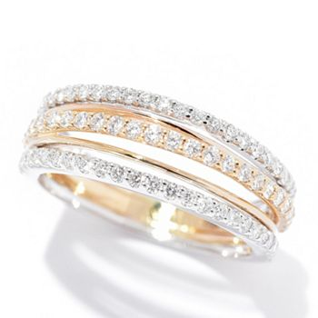 192-554 Beverly Hills Elegance® 14K Gold 0.75ctw Diamond 5-Row Tapered Band Ring - 192-554