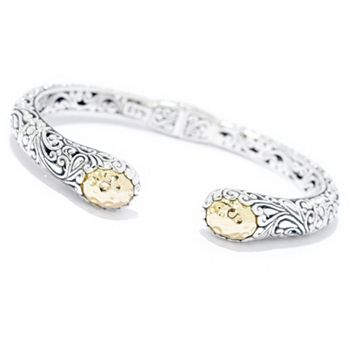 192-669 Artisan Silver by Samuel B. 18K Gold Accented Scrollwork Hinged Bangle Bracelet - 192-669