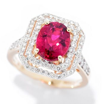 Jewelry  192-685 Gems of Distinction™ Limited Edition 14K Gold 2.34ctw 9x7mm Rubellite & Diamond Ring - 192-685