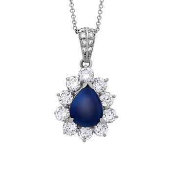 Designer Pre-Owned & Estate Up to 70% Off - 192-765 Estate 18K Gold & Platinum 5.02ctw Diamond & Sapphire Necklace w 18 Chain - Pre-Owned - 192-765