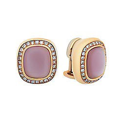 Estate 18K Rose Gold Moonstone & Diamond Stud Earrings - Pre-Owned