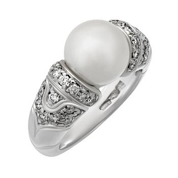 Web Exclusive - 192-853 Bvlgari 18K White Gold Cultured Pearl & Diamond Ring, 9.3 grams, Size 5 - Pre-Owned - 192-853