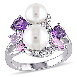 Jules by Julianna B Sterling Silver 1.36ctw Amethyst, Sapphire & Freshwater Cultured Pearl Ring