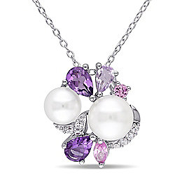 "Jules by Julianna B Sterling Silver 1.36ctw Amethyst, Sapphire & Cultured Pearl Pendant w/ 17"" Chain"