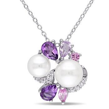 Gemstone Sale -193-074 Jules by Julianna B Sterling Silver 1.36ctw Amethyst, Sapphire & Cultured Pearl Pendant w 17 Chain - 193-074
